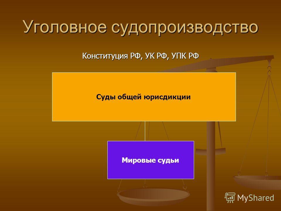 Уголовное судопроизводство Конституция РФ, УК РФ, УПК РФ Суды общей юрисдикции Мировые судьи
