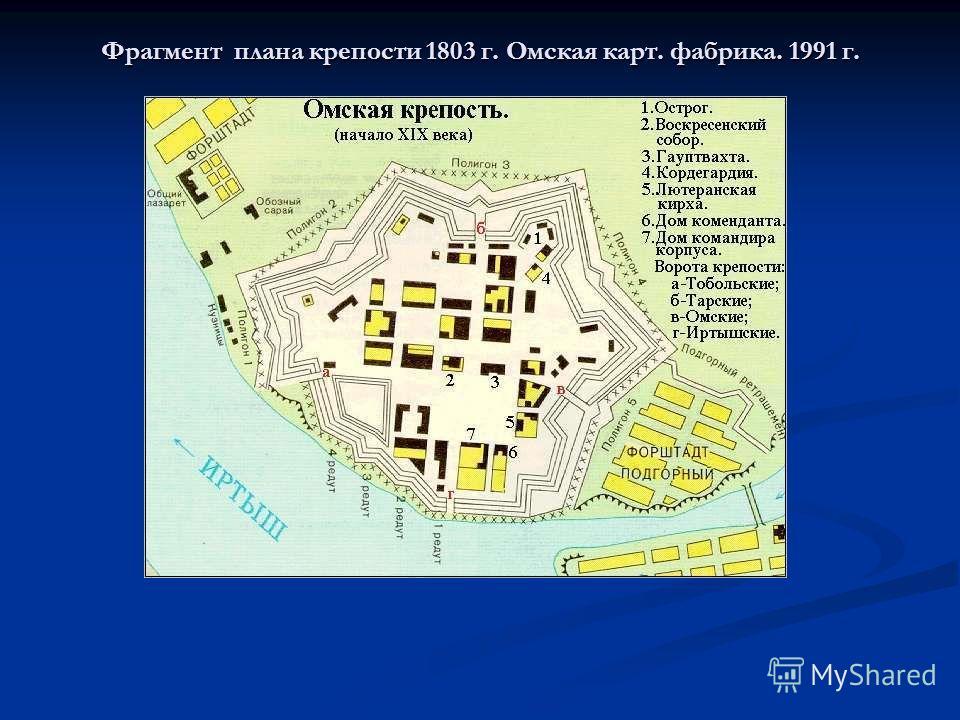 Фрагмент плана крепости 1803 г. Омская карт. фабрика. 1991 г.