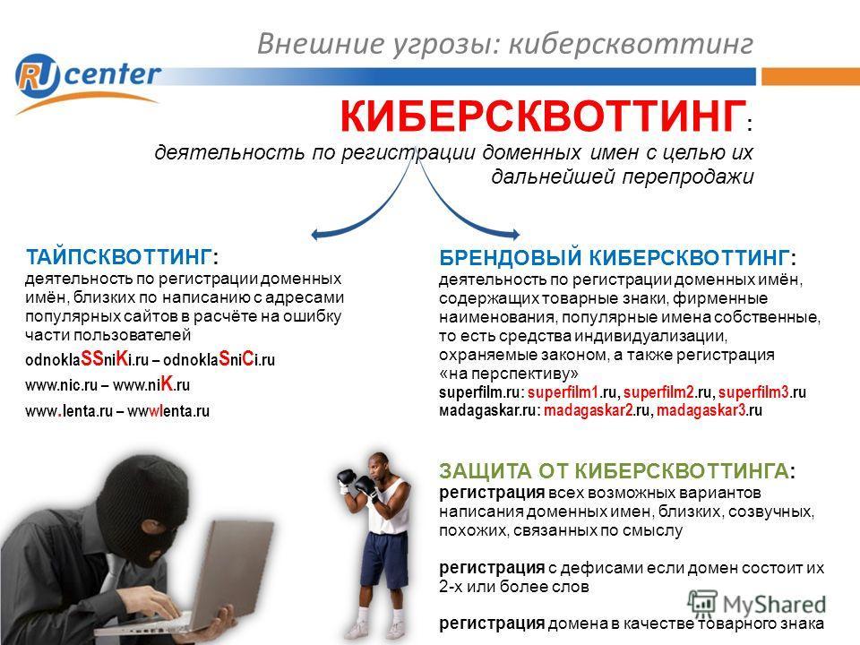 Внешние угрозы: киберсквоттинг КИБЕРСКВОТТИНГ : деятельность по регистрации доменных имен с целью их дальнейшей перепродажи ТАЙПСКВОТТИНГ: деятельность по регистрации доменных имён, близких по написанию с адресами популярных сайтов в расчёте на ошибк