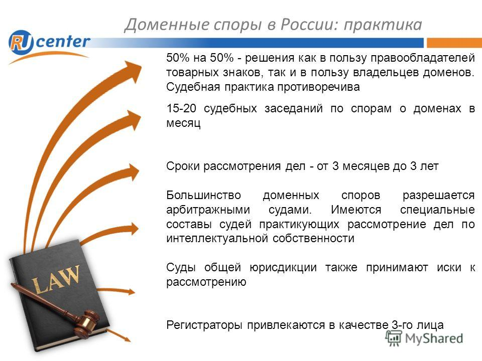 Доменные споры в России: практика 50% на 50% - решения как в пользу правообладателей товарных знаков, так и в пользу владельцев доменов. Судебная практика противоречива 15-20 судебных заседаний по спорам о доменах в месяц Сроки рассмотрения дел - от