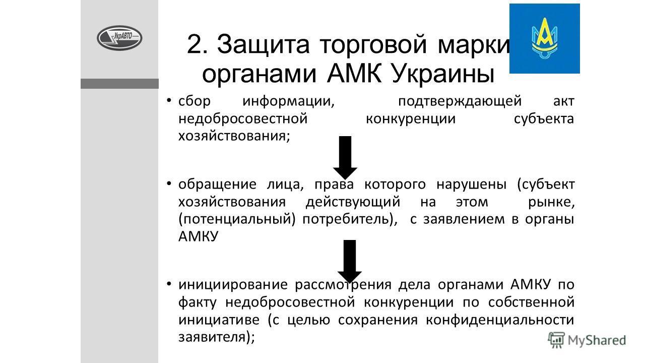 2. Защита торговой марки органами АМК Украины сбор информации, подтверждающей акт недобросовестной конкуренции субъекта хозяйствования; обращение лица, права которого нарушены (субъект хозяйствования действующий на этом рынке, (потенциальный) потреби