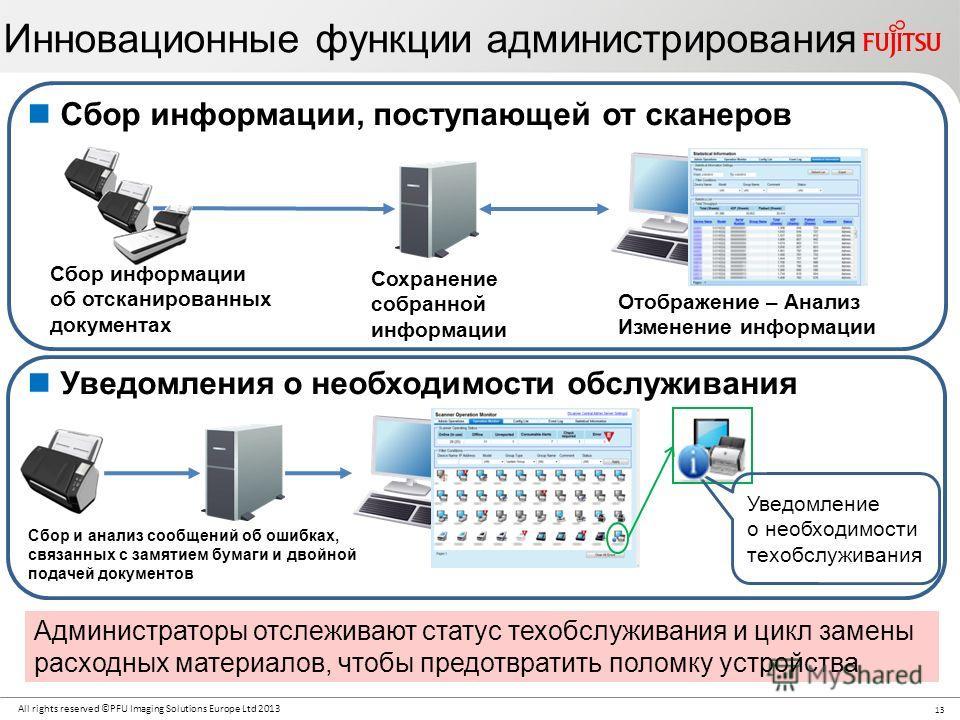 13 All rights reserved ©PFU Imaging Solutions Europe Ltd 2013 Сбор информации, поступающей от сканеров Уведомления о необходимости обслуживания Администраторы отслеживают статус техобслуживания и цикл замены расходных материалов, чтобы предотвратить