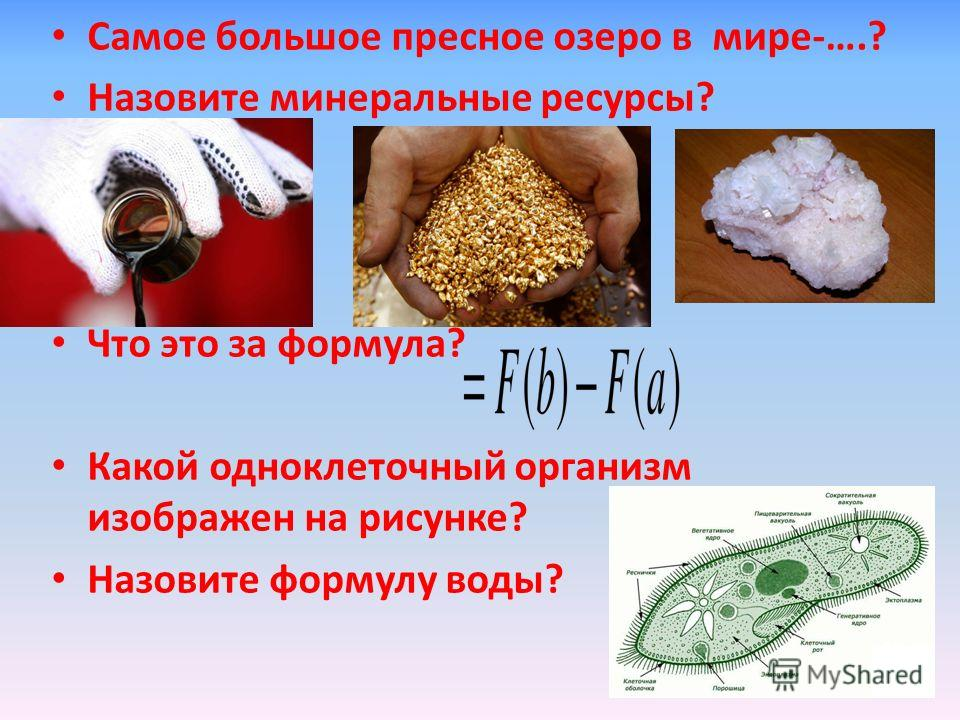 Самое большое пресное озеро в мире-….? Назовите минеральные ресурсы? Что это за формула? Какой одноклеточный организм изображен на рисунке? Назовите формулу воды?