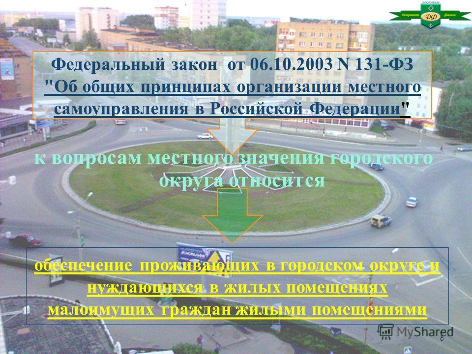 к вопросам местного значения городского округа относится Федеральный закон от 06.10.2003 N 131-ФЗ Об общих принципах организации местного самоуправления в Российской Федерации 6