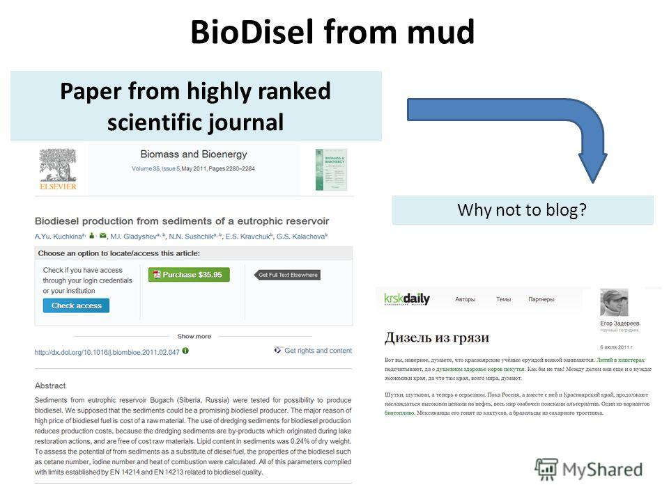 BioDisel from mud Paper from highly ranked scientific journal Why not to blog?