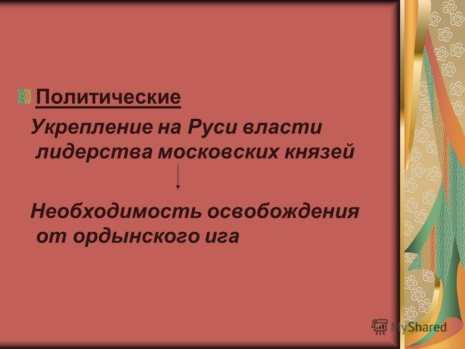 Политические Укрепление на Руси власти лидерства московских князей Необходимость освобождения от ордынского ига