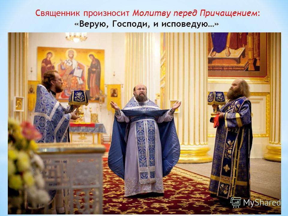 Священник произносит Молитву перед Причащением: «Верую, Господи, и исповедую…»