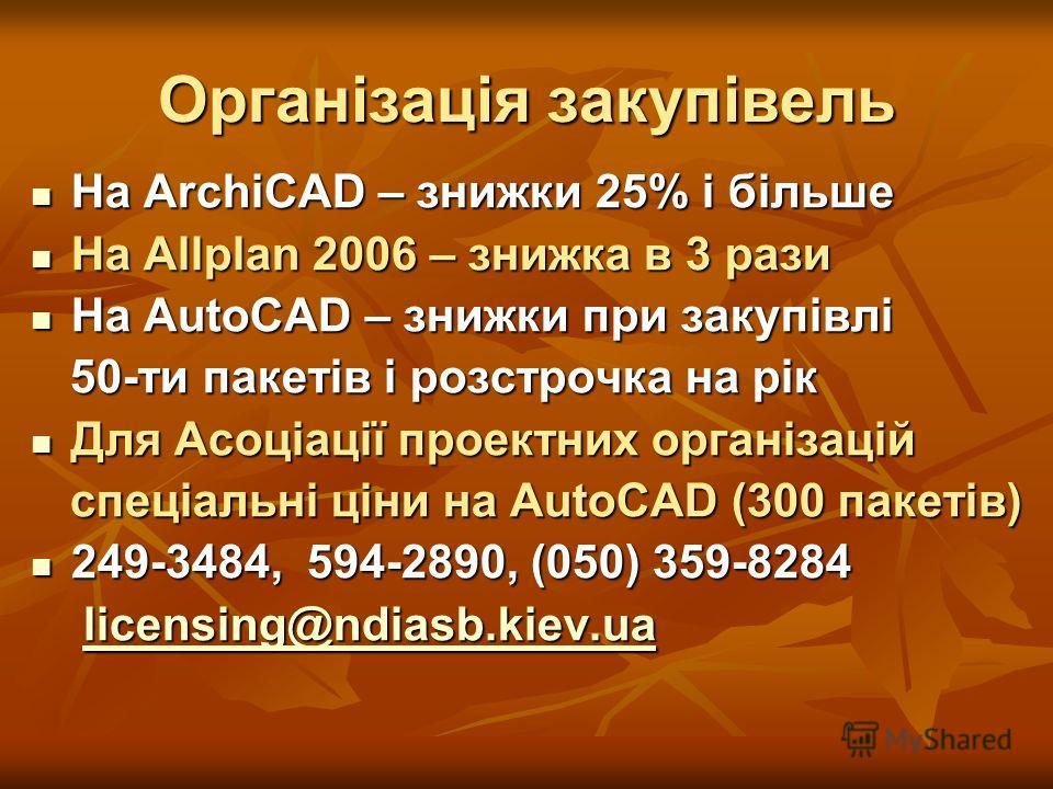 Організація закупівель На ArchiCAD – книжки 25% і більше На ArchiCAD – книжки 25% і більше На Allplan 2006 – книжка в 3 рази На Allplan 2006 – книжка в 3 рази На AutoCAD – книжки при закупівлі На AutoCAD – книжки при закупівлі 50-ти пакетів і розстро