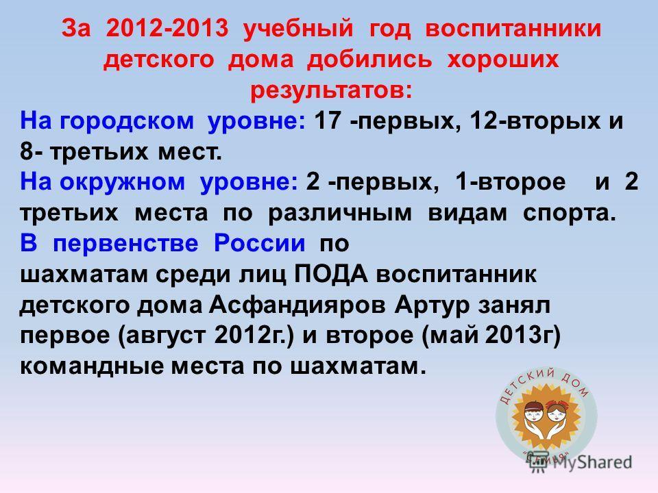 За 2012-2013 учебный год воспитанники детского дома добились хороших результатов: На городском уровне: 17 -первых, 12-вторых и 8- третьих мест. На окружном уровне: 2 -первых, 1-второе и 2 третьих места по различным видам спорта. В первенстве России п