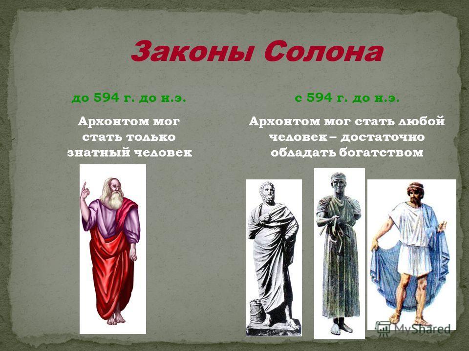 Законы Солона до 594 г. до н.э. Архонтом мог стать только знатный человек с 594 г. до н.э. Архонтом мог стать любой человек – достаточно обладать богатством