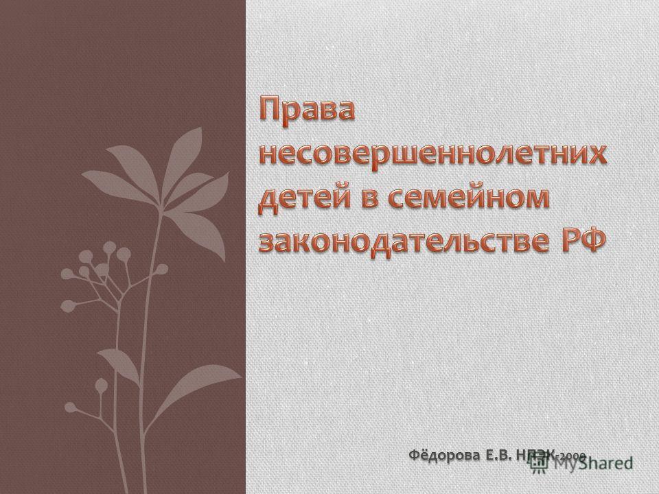 Фёдорова Е.В. НПЭК- 2009