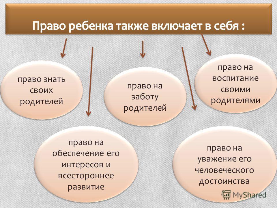 право знать своих родителей право на заботу родителей право на воспитание своими родителями право на уважение его человеческого достоинства право на обеспечение его интересов и всестороннее развитие