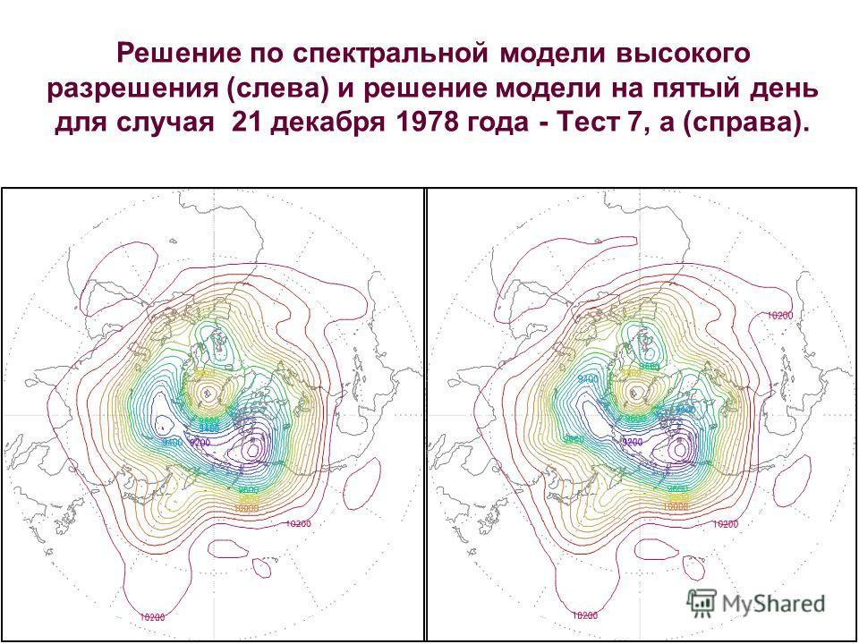 Решение по спектральной модели высокого разрешения (слева) и решение модели на пятый день для случая 21 декабря 1978 года - Тест 7, а (справа).