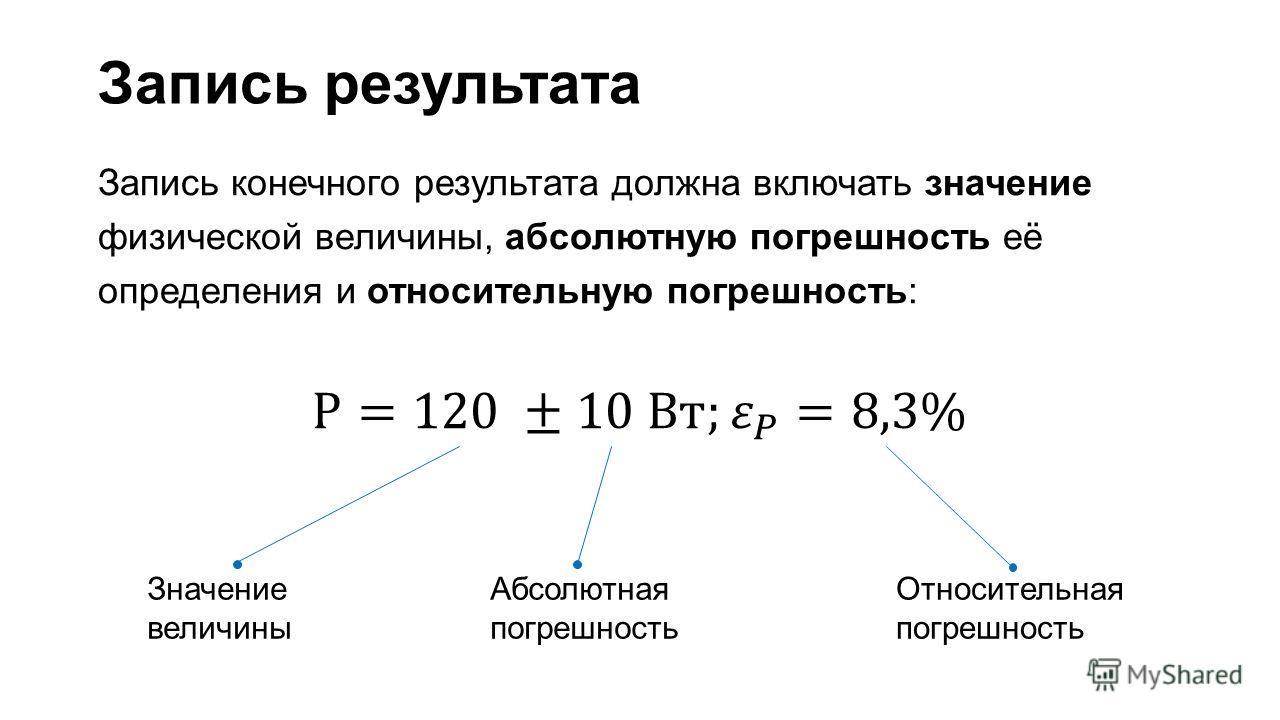 Значение величины Абсолютная погрешность Относительная погрешность Запись результата