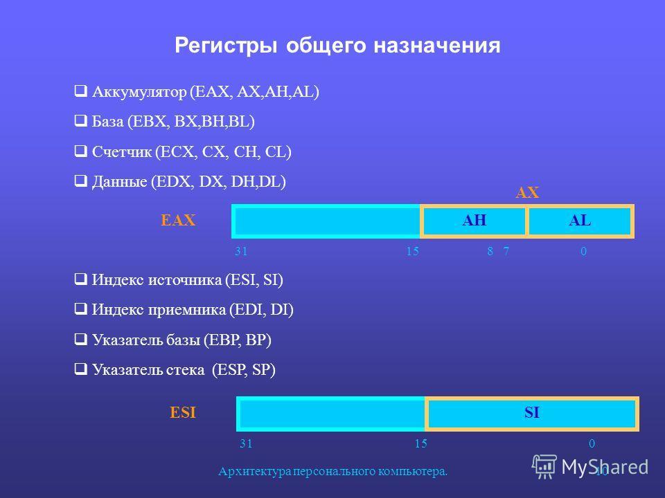 Архитектура персонального компьютера.10 Регистры общего назначения AHAL AX EAX 31 15 8 7 0 Аккумулятор (EAX, AX,AH,AL) База (EBX, BX,BH,BL) Счетчик (ECX, CX, CH, CL) Данные (EDX, DX, DH,DL) SI ESI 31 15 0 Индекс источника (ESI, SI) Индекс приемника (
