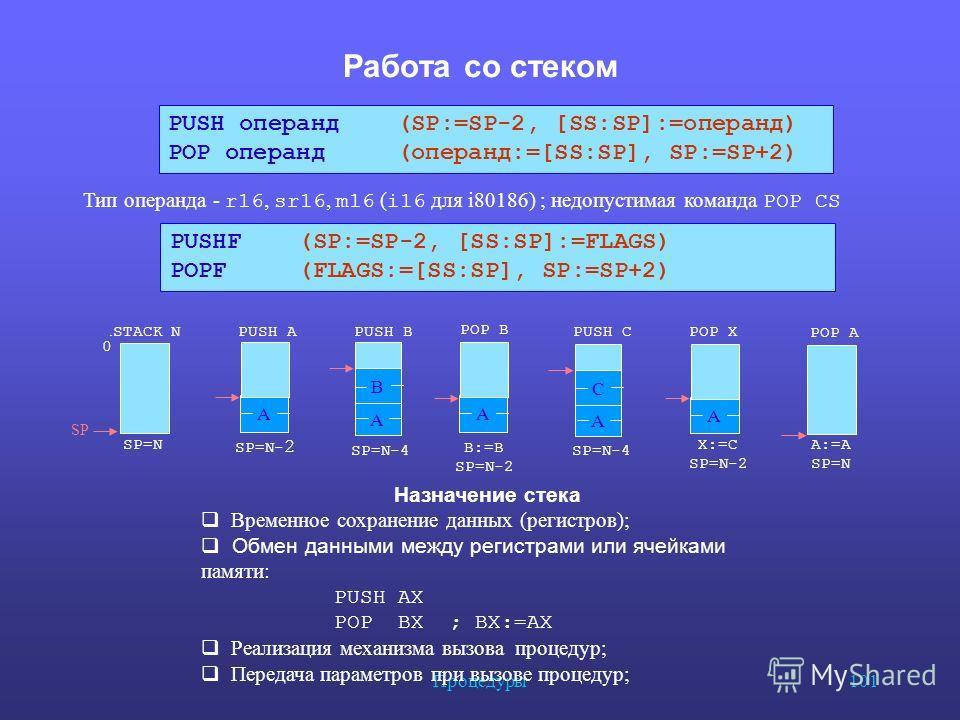 Процедуры 101 Работа со стеком В А С А А А PUSH B POP B PUSH A. STACK N POP X POP A PUSH C B:=B SP=N-2 SP=N-4 SP=N- 2 X:=C SP=N-2 A:=A SP=N 0 SP=N-4 PUSH операнд (SP:=SP-2, [SS:SP]:=операнд) POP операнд (операнд:=[SS:SP], SP:=SP+2) Тип операнда - r16
