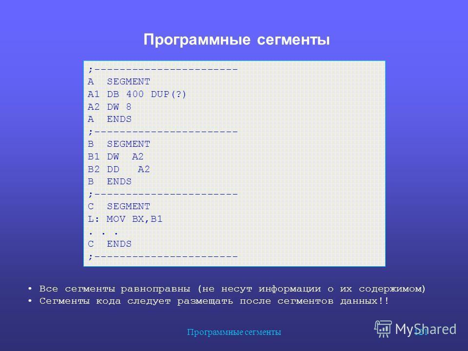 Программные сегменты 121 Программные сегменты ;----------------------- A SEGMENT A1 DB 400 DUP(?) A2 DW 8 A ENDS ;----------------------- B SEGMENT B1 DW A2 B2 DD A2 B ENDS ;----------------------- C SEGMENT L: MOV BX,B1... C ENDS ;------------------