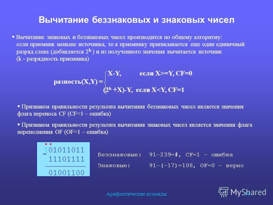 Арифметические команды 54 Вычитание беззнаковых и знаковых чисел Вычитание знаковых и беззнаковых чисел производится по общему алгоритму: если приемник меньше источника, то к приемнику приписывается еще один единичный разряд слева (добавляется 2 k )