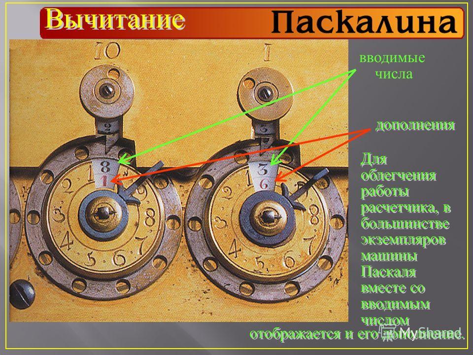 Вычитание отображается и его дополнение. вводимые числа дополнения Для облегчения работы расчетчика, в большинстве экземпляров машины Паскаля вместе со вводимым числом