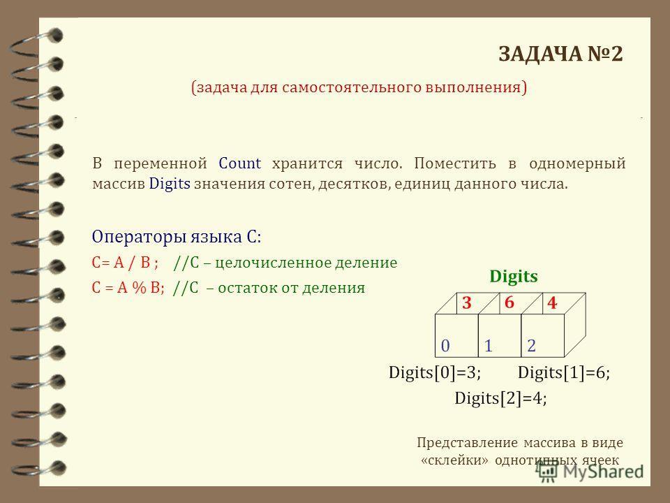 ЗАДАЧА 2 В переменной Count хранится число. Поместить в одномерный массив Digits значения сотен, десятков, единиц данного числа. Представление массива в виде «склейки» однотипных ячеек Операторы языка С: С= A / B ; //С – целочисленное деление С = A %