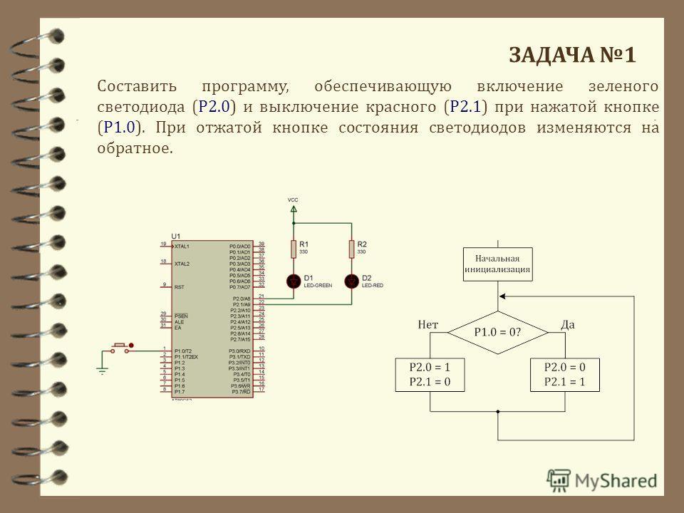 ЗАДАЧА 1 Составить программу, обеспечивающую включение зеленого светодиода (Р2.0) и выключение красного (Р2.1) при нажатой кнопке (Р1.0). При отжатой кнопке состояния светодиодов изменяются на обратное.