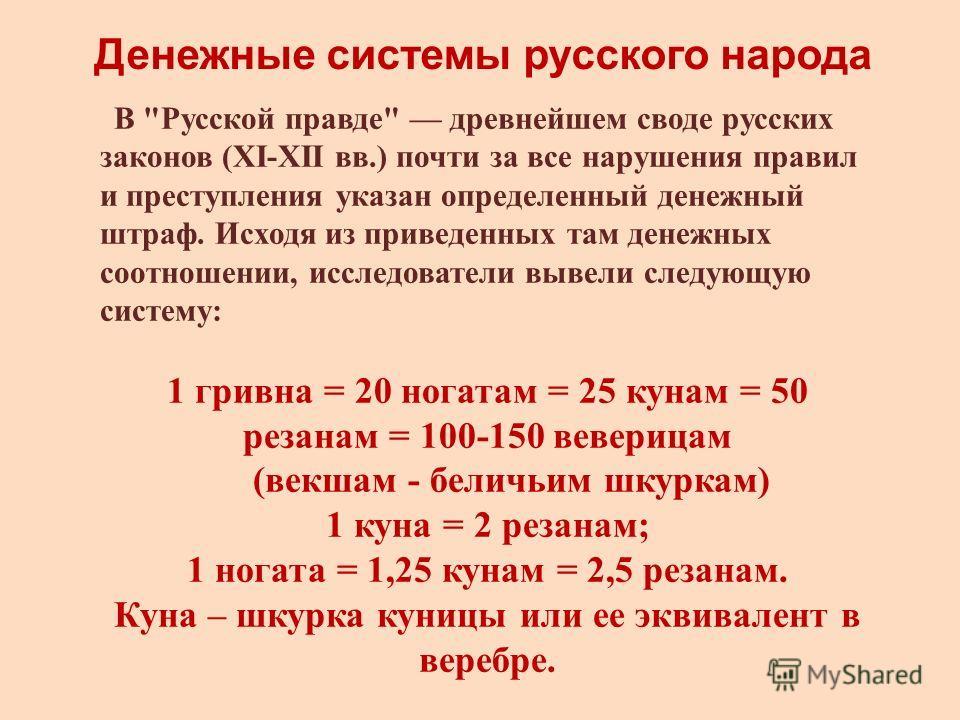 Денежные системы русского народа В