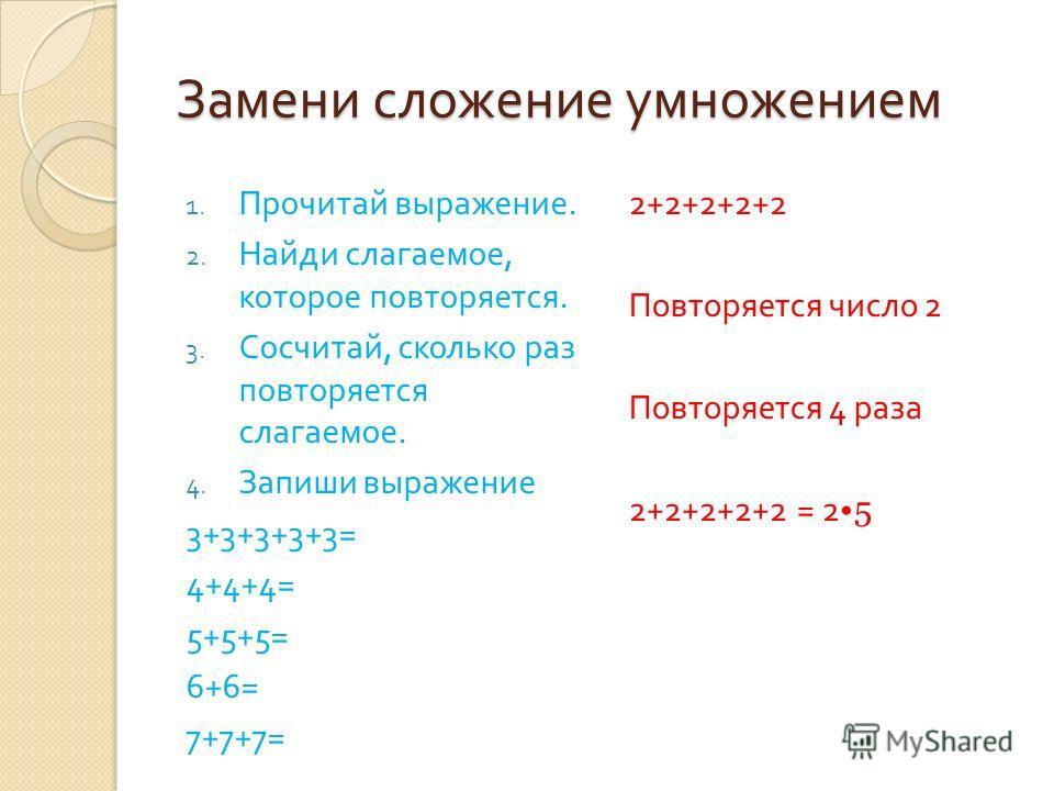 Замени сложение умножением 1. Прочитай выражение. 2. Найди слагаемое, которое повторяется. 3. Сосчитай, сколько раз повторяется слагаемое. 4. Запиши выражение 3+3+3+3+3= 4+4+4= 5+5+5= 6+6= 7+7+7= 2+2+2+2+2 Повторяется число 2 Повторяется 4 раза 2+2+2