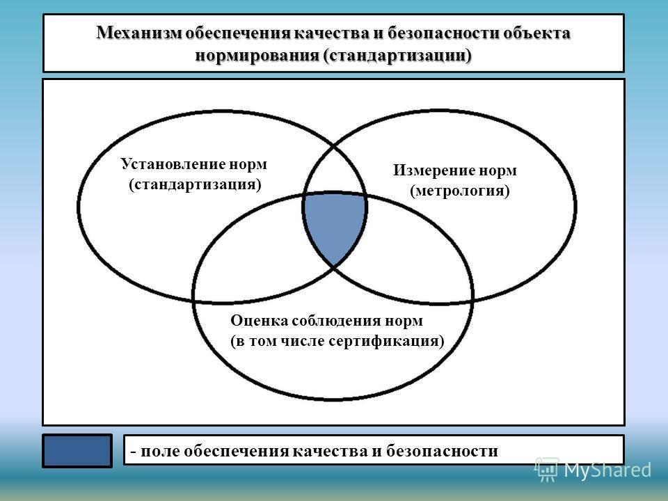 Механизм обеспечения качества и безопасности объекта нормирования (стандартизации) Установление норм (стандартизация) Измерение норм (метрология) Оценка соблюдения норм (в том числе сертификация) - поле обеспечения качества и безопасности