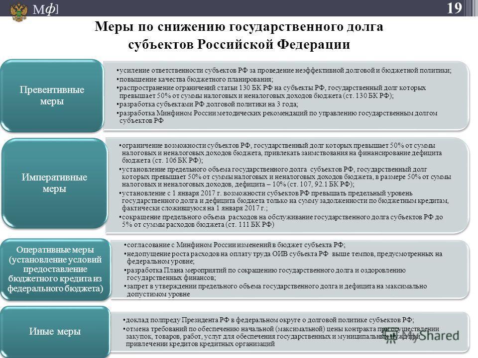 М ] ф 19 усиление ответственности субъектов РФ за проведение неэффективной долговой и бюджетной политики; повышение качества бюджетного планирования; распространение ограничений статьи 130 БК РФ на субъекты РФ, государственный долг которых превышает