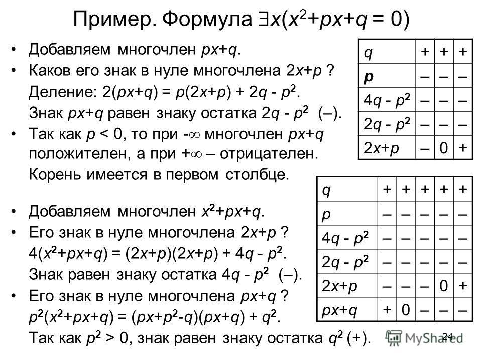 24 Пример. Формула x(x 2 +px+q = 0) Добавляем многочлен px+q. Каков его знак в нуле многочлена 2x+p ? Деление: 2(px+q) = p(2x+p) + 2q - p 2. Знак px+q равен знаку остатка 2q - p 2 (–). Так как p < 0, то при - многочлен px+q положителен, а при + – отр
