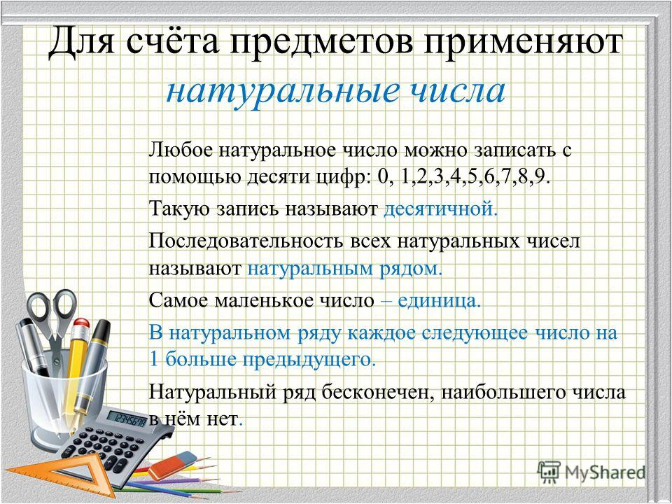 Для счёта предметов применяют натуральные числа Любое натуральное число можно записать с помощью десяти цифр: 0, 1,2,3,4,5,6,7,8,9. Такую запись называют десятичной. Последовательность всех натуральных чисел называют натуральным рядом. Самое маленько