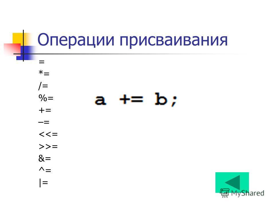 Операции присваивания = *= /= %= += –= = &= ^=  =