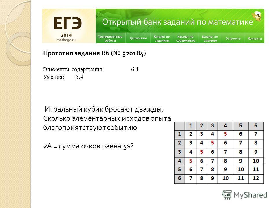 Прототип задания B6 ( 320184) Элементы содержания: 6.1 Умения: 5.4 Игральный кубик бросают дважды. Сколько элементарных исходов опыта благоприятствуют событию «А = сумма очков равна 5»?