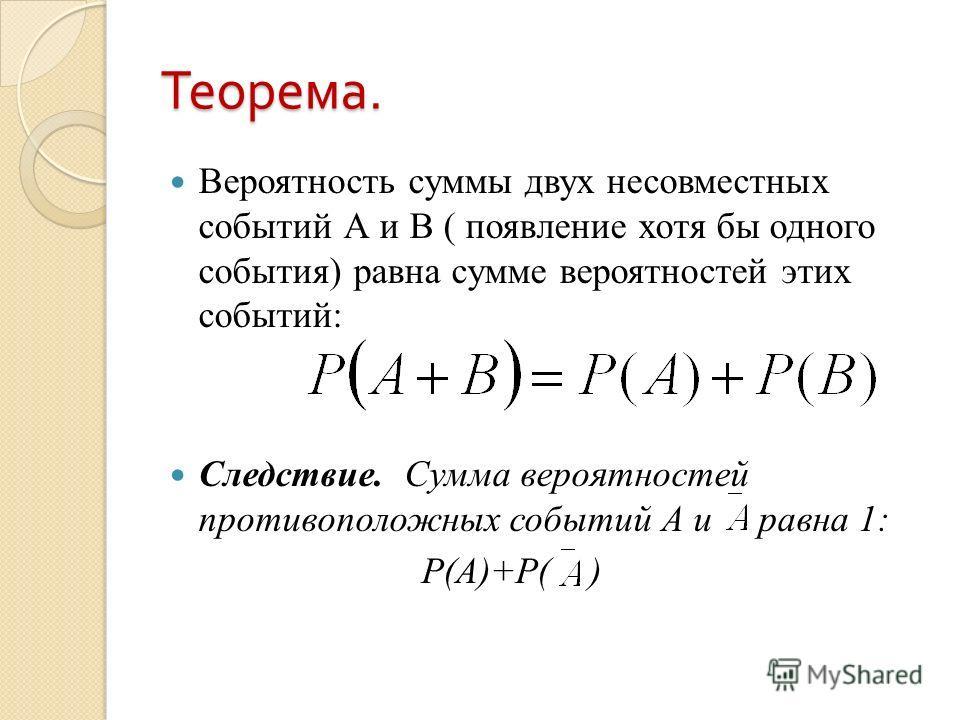 Теорема. Вероятность суммы двух несовместных событий А и В ( появление хотя бы одного события) равна сумме вероятностей этих событий: Следствие. Сумма вероятностей противоположных событий А и равна 1: Р(А)+Р( )