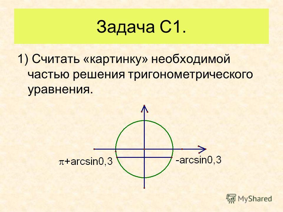 Задача С1. 1) Считать «картинку» необходимой частью решения тригонометрического уравнения.