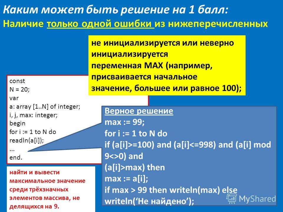 12 const N = 20; var a: array [1..N] of integer; i, j, max: integer; begin for i := 1 to N do readln(a[i]);... end. Верное решение max := 99; for i := 1 to N do if (a[i]>=100) and (a[i] 0) and (a[i]>max) then max := a[i]; if max > 99 then writeln(max