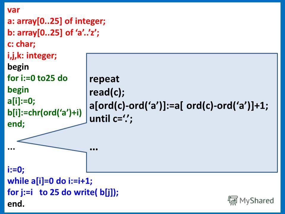 47 var a: array[0..25] of integer; b: array[0..25] of a..z; c: char; i,j,k: integer; begin for i:=0 to25 do begin a[i]:=0; b[i]:=chr(ord(a)+i) end;... i:=0; while a[i]=0 do i:=i+1; for j:=i to 25 do write( b[j]); end. repeat read(c); a[ord(c)-ord(a)]