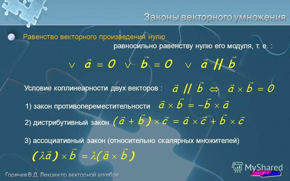Равенство векторного произведения нулю равносильно равенству нулю его модуля, т. е. : Условие коллинеарности двух векторов : 1) закон противопереместительности 2) дистрибутивный закон 3) ассоциативный закон (относительно скалярных множителей)