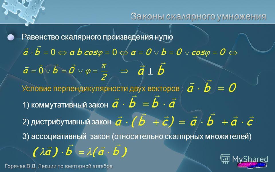 Равенство скалярного произведения нулю T Условие перпендикулярности двух векторов : 1) коммутативный закон 2) дистрибутивный закон 3) ассоциативный закон (относительно скалярных множителей)