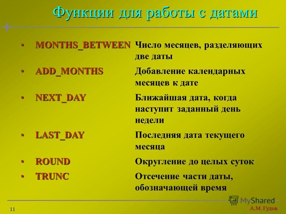 А.М. Гудов 11 Функции для работы с датами MONTHS_BETWEENMONTHS_BETWEENЧисло месяцев, разделяющих две даты ADD_MONTHSADD_MONTHSДобавление календарных месяцев к дате NEXT_DAYNEXT_DAYБлижайшая дата, когда наступит заданный день недели LAST_DAYLAST_DAYПо