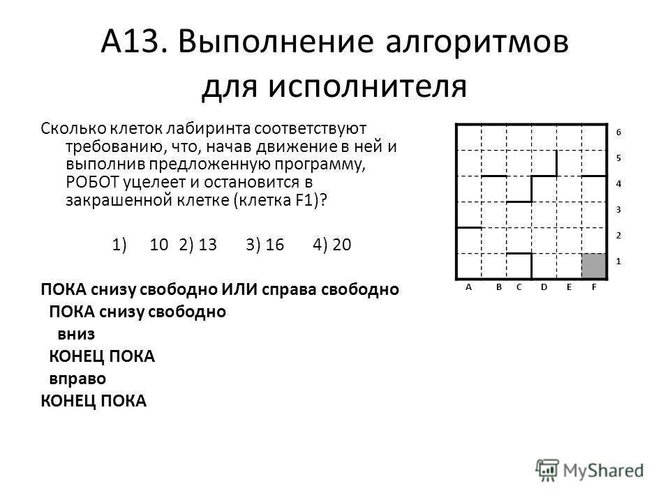 А13. Выполнение алгоритмов для исполнителя Сколько клеток лабиринта соответствуют требованию, что, начав движение в ней и выполнив предложенную программу, РОБОТ уцелеет и остановится в закрашенной клетке (клетка F1)? 1)102) 133) 16 4) 20 ПОКА снизу с