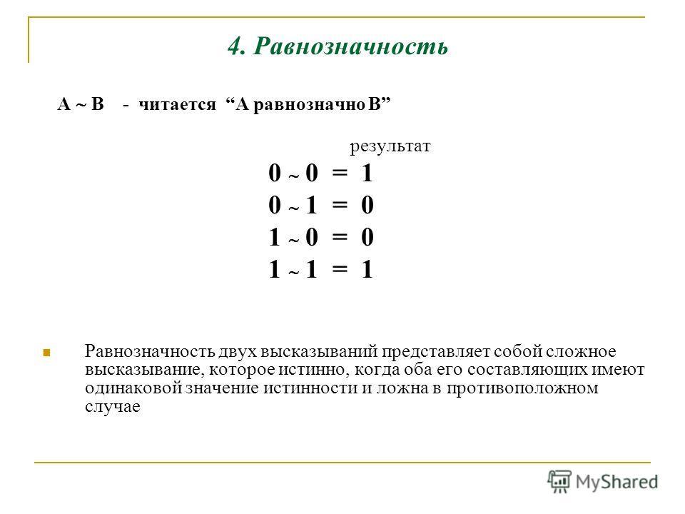 4. Равнозначность А B - читается A равнозначно B результат 0 0 = 1 0 1 = 0 1 0 = 0 1 1 = 1 Равнозначность двух высказываний представляет собой сложное высказывание, которое истинно, когда оба его составляющих имеют одинаковой значение истинности и ло