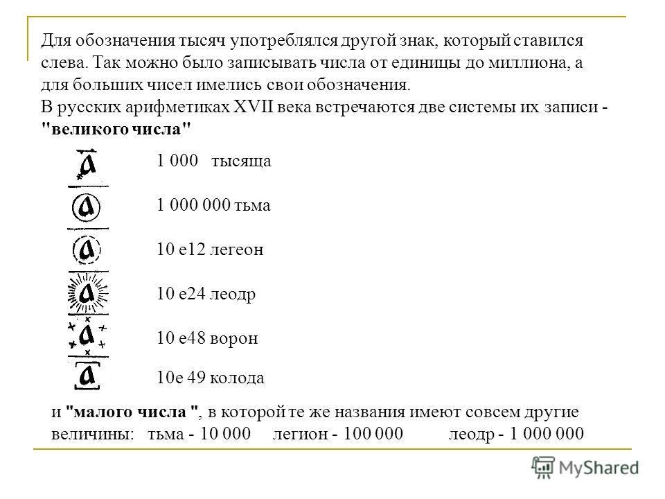 1 000 тысяча 1 000 000 тьма 10 e12 легион 10 e24 леодр 10 e48 ворон 10e 49 колода Для обозначения тысяч употреблялся другой знак, который ставился слева. Так можно было записывать числа от единицы до миллиона, а для больших чисел имелись свои обознач