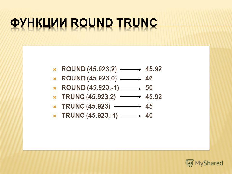 ROUND (45.923,2) 45.92 ROUND (45.923,0)46 ROUND (45.923,-1)50 TRUNC (45.923,2)45.92 TRUNC (45.923)45 TRUNC (45.923,-1)40
