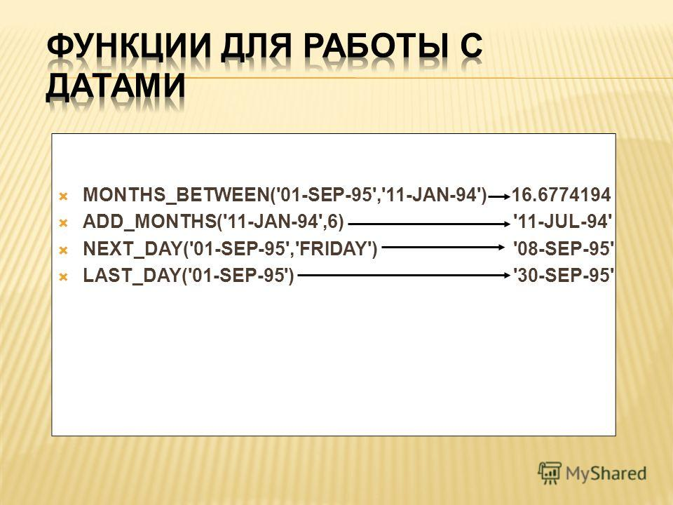 MONTHS_BETWEEN('01-SEP-95','11-JAN-94') 16.6774194 ADD_MONTHS('11-JAN-94',6) '11-JUL-94' NEXT_DAY('01-SEP-95','FRIDAY') '08-SEP-95' LAST_DAY('01-SEP-95') '30-SEP-95'