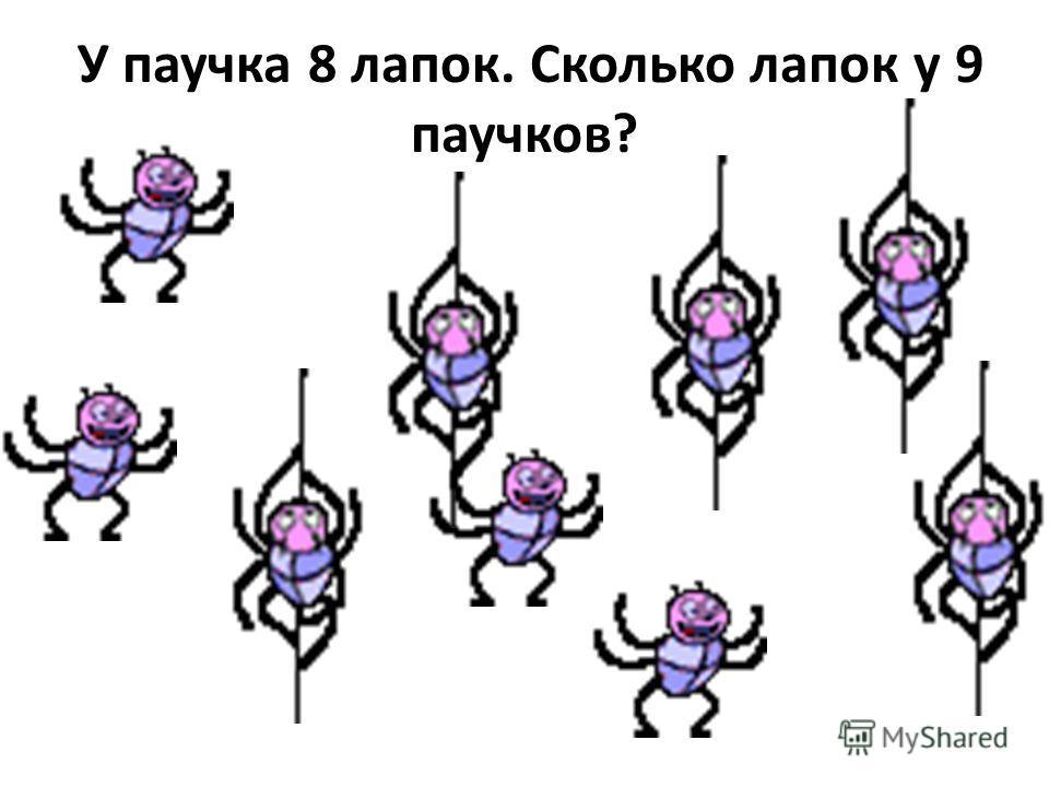 У паучка 8 лапок. Сколько лапок у 9 паучков?