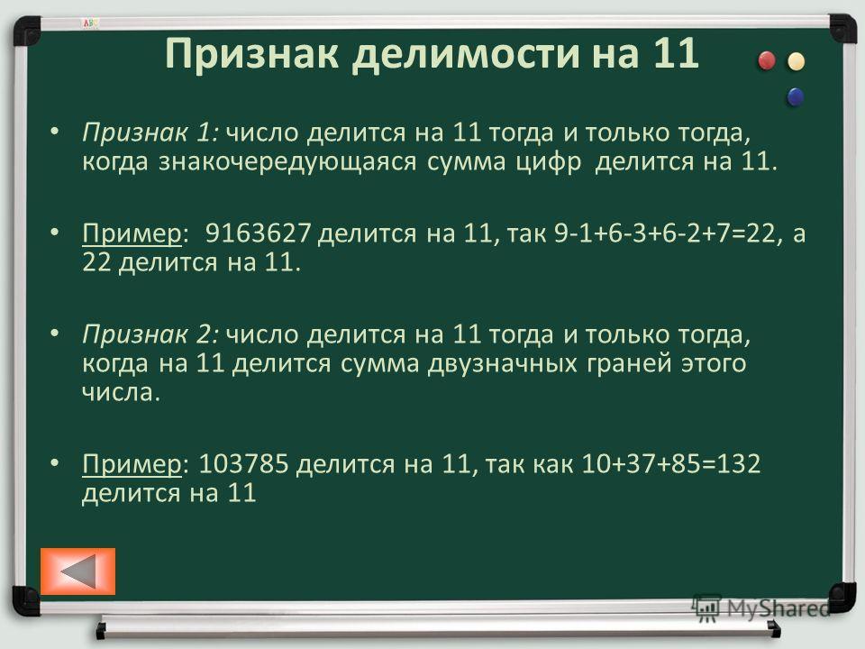 Признак делимости на 11 Признак 1: число делится на 11 тогда и только тогда, когда знакочередующаяся сумма цифр делится на 11. Пример: 9163627 делится на 11, так 9-1+6-3+6-2+7=22, а 22 делится на 11. Признак 2: число делится на 11 тогда и только тогд