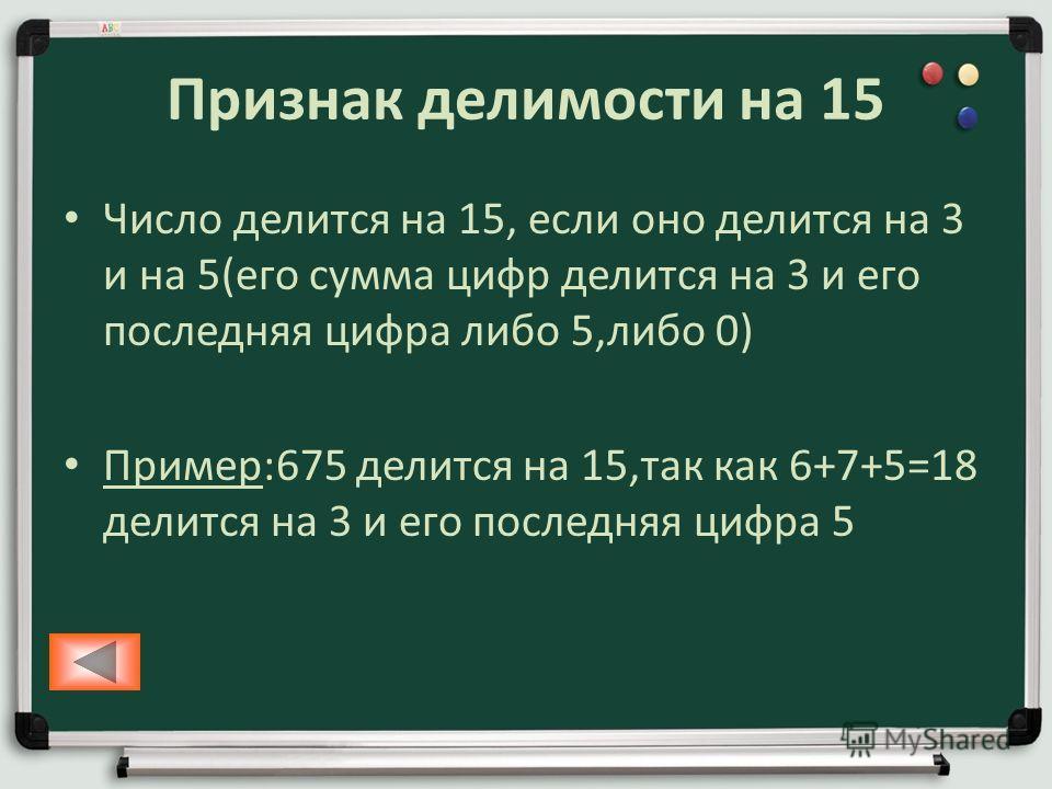 Признак делимости на 15 Число делится на 15, если оно делится на 3 и на 5(его сумма цифр делится на 3 и его последняя цифра либо 5,либо 0) Пример:675 делится на 15,так как 6+7+5=18 делится на 3 и его последняя цифра 5