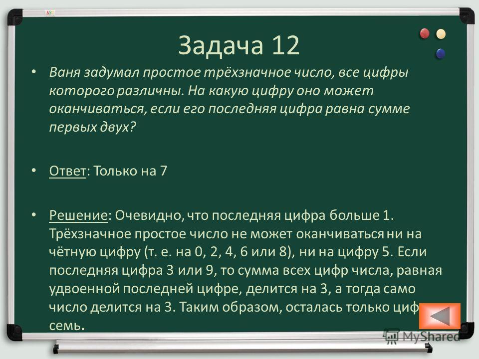 Задача 12 Ваня задумал простое трёхзначное число, все цифры которого различны. На какую цифру оно может оканчиваться, если его последняя цифра равна сумме первых двух? Ответ: Только на 7 Решение: Очевидно, что последняя цифра больше 1. Трёхзначное пр