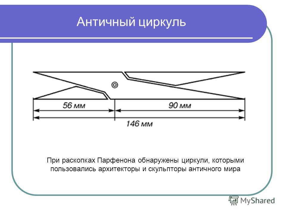 Античный циркуль При раскопках Парфенона обнаружены циркули, которыми пользовались архитекторы и скульпторы античного мира
